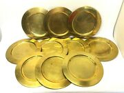 Vintage Set Of 10 Used Brass Metal Gold Colored Serving Plates Trays