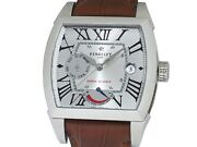 Perrelet Power Reserve Date A1021 Automatic Leather Silver Dial Mens Box And Paper