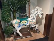 Large Carousel Horse Hand Carved Wood Signed By The Artist Fine Painted Details