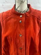 New Never Worn Isaac Mizrahi Red Suede Leather Jacket Snap Front, Plus Size 28w