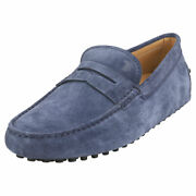 Tod's Gommino Mens Navy Suede Loafer Shoes