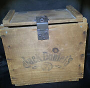 Jack Daniels Old No 7 Vintage Locking Wooden Crate Box W/ Lid And Rope Handles 13