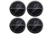2020-21 Corvette Center Caps In Black W/ Stingray Logo Gm New 4 Caps 84385015