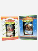 Budweiser Anheuser Busch 2 Holiday Christmas Beer Steins Mugs 01andrsquo And 02andrsquo New Bx5