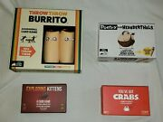 Exploding Kittens Oatmeal 4x Game Lot Neanderthals, Crabs, Burrito - Complete