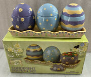 Debbie Mumm Spring Condiment Serving Set 3 Easter Egg Bowls W/tray And Box