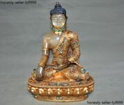 Crystal 24k Gold Inlay Turquoise Red Coral Lapis Lazuli Medicine Buddha Statue