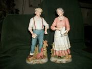 Homco/home Interiors 1425 Porcelain 10 Elderly Couple Figurines Peaceful Years
