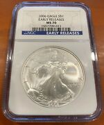 2006 1 1oz. Ultra Rare Pop 64 American Silver Eagle Ngc Ms 70 Early Releases