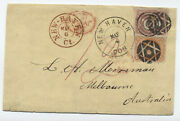 1864 71 And 65 Cover New Haven Ct Fancy Cancel To Australia [y4251]
