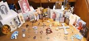 Vintage Religious Lot Of Holy Cards, Crosses, Medals, Rosaries And Angels
