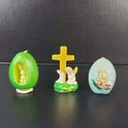 3 Vintage Easter Candles 2 Gurley Cross And Bunny In Egg Blue Egg With Rabbit
