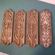Antique Set Of 4 Matching Vintage Ornate Solid Brass Door Plate Push Plate