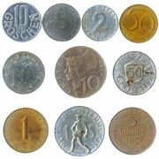 10 Austrian Coins. Old Collectible Currency Groschen, Schilling. 1950-2001