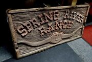 Old Spring River Ranch Sign Montana Horse .. See My Porcelain Neon Signs Clocks