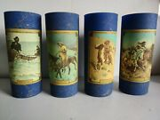Jim Beam Blue Frederic Remington And Charles M Russell. Glasses Set Of 4