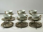 1901 Heath And Middleton Victorian Silver Plates And H/hh Porcelain Cups-set Of 6