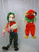 Pair Of Vintage Clown String Hand Made Wooden Marionettes