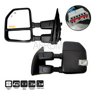 Fit For 1999-2016 Ford F250 Truck Power Heated Black Trailer Towing Mirrors Pair