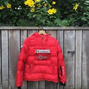 Red Geographical Norway Puffer Coat