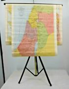 Antique 1910 Four Bible Lands Maps On Bar For Hanging And Stand - Details Below