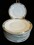 Vintage Kpm 27044-4576 Germany Yellow And Blue Border Roses 9 Bread And Butter Plate