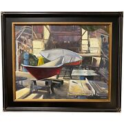 Mike Maclean New England Impressionist Oil Painting Boat Shop Morning