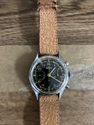 Angelus Vintage Chronograph. Gilt Black Dial. 1950andrsquos. Stainless Steel. Cal.215
