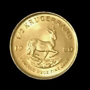 1980 South Africa 1/2 Oz Gold Krugerrand Brilliant Unc First Year Of Issue