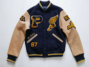 Polo Jacket Varsity Iconic Letterman Leather Patches P Wing Rugby M