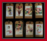 Primitive Looking Valentine Hang Tags, Beautiful And Antique Designed - Eight