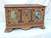 Antique Burmese Carved Wood Trunk Gilt Mirrors And Colored Glass 19th C.