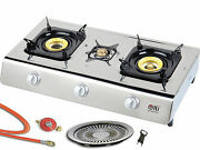 Stainless Steel Gas Cooker 3 Flame 10kw Stove Camping Wok Grill Plate