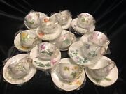 Okura Japan Set Of 12 Beautiful Japanese Flowers Cups And Saucers -special Edition