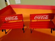 Pause On The Park Bench Coca Cola Coke Santa Christmas Ornament Set Of 2 Benches