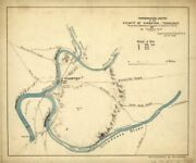 1863 Map Of Kingston, Tennessee | Topographical Sketch | Tennessee Wall Art Map