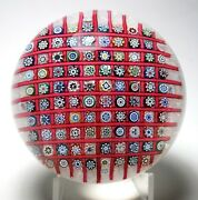 Spectacular Magnum Mcdougall Checker Board Lace Ground Millefiori Paperweight