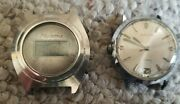 Lot Of 2 Vintage Timex Microma 1970s Led Watch Faces Only Parts Repair Steel