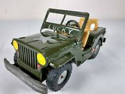Lucky Us Army Green Willy's Jeep Tin Friction Toy Made In Japan