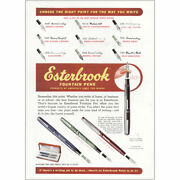 1950 Esterbrook Fountain Pens Choose The Right Point Vintage Print Ad