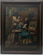 Antique Currier And Ives School 'painting' Victorian Woman Large Folio Lithograph