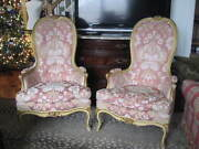 Antique Louis Xv French Painted Gilt Bergere Armchairs Baroque Rococo Beautiful