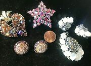 Lot Of Lisner Signed Rhinestone Earrings Brooches Pins Jewelry