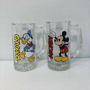 Vintage Walt Disney Mickey Mouse And Donald Duck Glass Beer Mug Cups W/handle