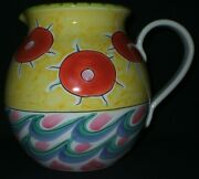 1991 Present Tense Hand Painted Pitcher Elizabeth Barrett Roache Made In Italy