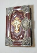 Antique Finely Bound 19th Century Sterling Silver Leather German Religious Bible