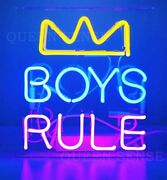New Boys Rule Rown Neon Light Sign 14 Lamp Beer Pub Acrylic Real Glass