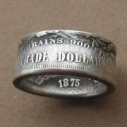 Menand039s Silver Coin Ring Vintage Morgan Trade Dollar Ring 1875 Jewelry Size 7-13