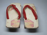 Antique Japanese Geta Sandals Painted Wood Red Cloth 19th Century Ornate Painted