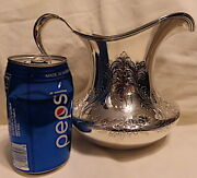 1895 Meriden Britannia Sterling Water Pitcher/jug Hand Chased Low Squat And Wide